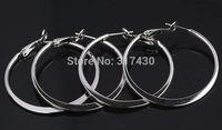 Wholesale 2pairs/lot 18k White Gold Filled Womens Earrings Plain Smooth Hoop Earrings Dia. 40mm