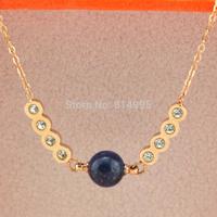 rose colour titanium steel natural lapis pendant necklace