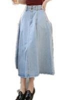 Free Shipping Women 2015 Spring Summer Vintage high waist slim expansion Denim Skirt,Loose Ladies Long Jeans Skirt