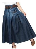 Free Shipping Women 2015 Spring Summer casual brief water wash denim Skirts,Euro Ladies long elegant skirts with expansion