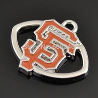 Fashion One Side Enamel Orange San Francisco 49ers Football Team Logo Charms