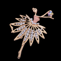 Cute Ballerina Pin Sparkling Rhinestone Scarf Pins Fashion Costume Brooch Jewelry BP009