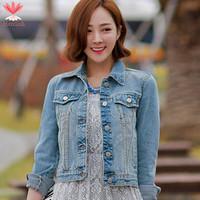 Brand Designer Women Denim Jackets Spring Autumn 2015 Long Sleeve Retro Ladies Short Jeans Jacket Woman Coat Plus Size J19171S