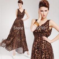 New summer dress / girls fashion flounced chiffon leopard Charming big swing dress / gift