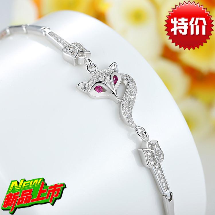 Pure silver bracelet female fashion fox hand accessories jewelry inlaying zircon birthday gift(China (Mainland))