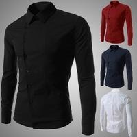 Spring Fashion Casual Men's Solid color Unique oblique button Design Long-sleeved shirt Business Slim Men casual shirt RED/BLACK