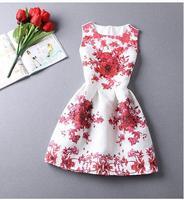 Women vestido Dresses Summer o-neck Florals Print Pleated A-line Dress Feminina Casual vestido de renda Dresses 2015