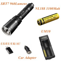 1Set Nitecore SRT7 CREE XM-L2 T6 LED Flashlight Waterproof Torch+UM10 Digicharger+NL188 3100mAh Battery+Car Charger.Freeship