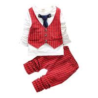 2015 New Arrive Baby Clothing set Long Sleeve Gentleman Boys Clothes