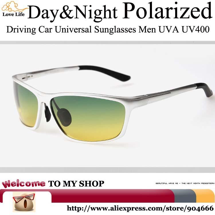 Day&Night Driving Car Universal Shield Sunglasses Men Polarized UV400,High-grade aluminum magnesium alloy glasses safe driving(China (Mainland))
