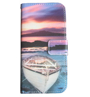 Sea Sunset Rowboat PU Leather Flip Wallet Stand Pouch Skin Bag Cover Case For Apple iPhone 6 Plus 5.5 Inch