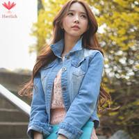 2015 Spring Autumn New Fashion Jeans Jackets Women Short Coat Long Sleeve Loose Blue Woman Denim Jacket Chaquetas Mujer J19211S