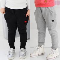 2015 spring autumn children's black grey long pants long trousers for boys girls