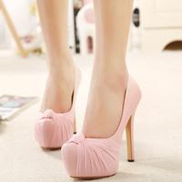 2015 women pumps with beautiful bowtie  women platform high heel shoes women sweet wedding party shoes size 34-39