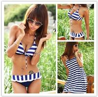 New Fashion Korean Style Three Pieces Swimwear Suits Hot Sale Sexy Push Up Design Bikini Set Plus Size Women Hater Suimsuit