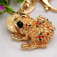 Cute Trinket Rhinestone Car Key Chains Gold Coin Frog Keychain Animal Keyrings Bag Key Fobs New Novelty Souvenir
