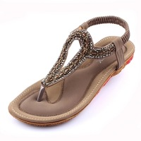 The new elegant flat sandals in summer Diamond comfortable gas bottom flat with female cool shoes