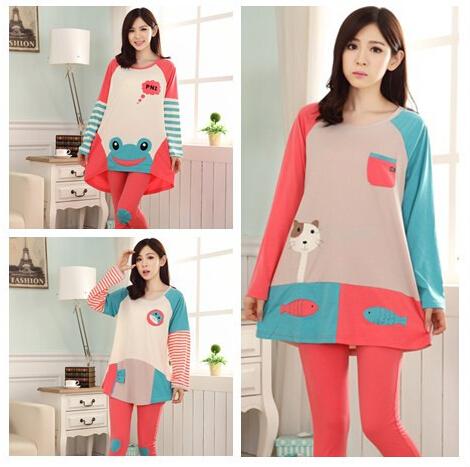 Весна и осень с длинным рукавом женщин Loungewear и ночное белье из 100% хлопка девушки пижамы пижамы комплект