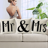 Mr & Mrs Printed Thick Linen Pillowcase 45x45cm Car Pillow Cushion Office Sofa Pillow Cover Home Decotation