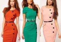Women Summer Dress Fashion V-Neck  Button Empire Waist Slim Wiggle Pencil Bodycon Casual  party Dress,Plus Size XS-XXXL dresses
