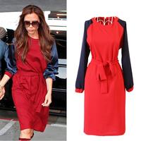 2013 New Fashion Autumn Women Stars Dress Victoria Beck hams Hit Color Dress Women Long Sleeve Dress 1