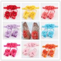 Adorable Pink Baby Barefoot Sandal Headband Set Infant Barefoot Sandal Set Foot accessories Foot Flower Photo Prop 10pair S070