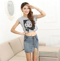 Women Denim Skirts Front Slit Slim Skirts Female Casual Skirts Free Shipping