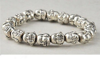 Brand New Tibet Silver Chinese Old Handwork Carving Buddha Heard Exorcism Bracelet 2pc/lot  fashion jewelry