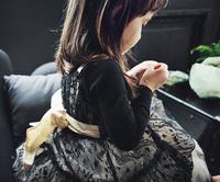 Spring Summer 2015 Korean Straps Lace Girl Dress Kids Tulle Dresses With Big Bow Black