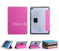 Fashion clear PC back+ TPU edge+3-Fold PU Leather Protective Cover Smart Case for iPad Air 2 Air2 iPad 6,1pc/lot