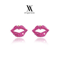 2015 NEWEST ROXI Brand Red Lips pearl stud earrings fashion Jewelry Free shipping wholesale