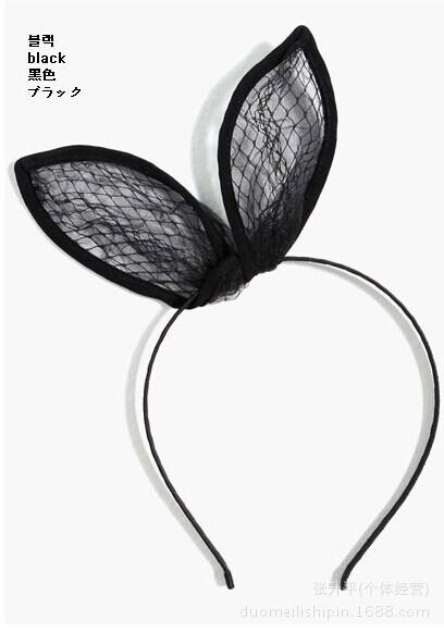 2014 latest Korean headdress hair accessories cute little bunny ears headband mesh grid rabbit ears headband(China (Mainland))