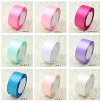 Free shipping 8CM x 25yard santin ribbons cloth tape packing belt gift ribbon roll wedding deco 20 colors
