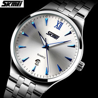 New 2015 SKMEI Brand Fashion Men's Full Steel Watches Casual Quartz Dress Wristwatches With Calendar Waterproof Business Watch
