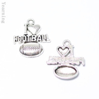 Yearning Jewelry Findings Vintage Silver Alloy American Football Pendant Charms Fit Nacklace Bracelet 20*18MM 50pcs/lot