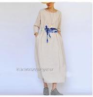 2015 Spring summer  full linen dress Original Design Bottom Oversized Long One-piece Dress Unique Stylish Female Linen Dress