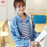 2015 Spring Autumn Ladies Short Denim Jackets Long Sleeve Burr Frayed Blue Loose Jeans Jacket Women Coat Chaquetas Mujer J19231S