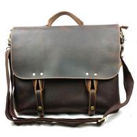 Vintage genuine  leather men's business slim portable laptop bag briefcase man bag Shoulder Messenger postmen bag