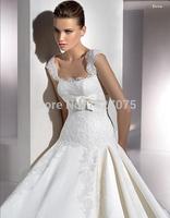 WEDDING DRESSES WHITE SATIN SPAGHETTI STRAPS SLEEVELESS FLOOR-LENGTH BALL GOWN 2014 new free shipping