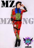M-4XL ! Men's  fashion DJ nightclub singer sun shall Rhinestone chain colorful cloth paste leather jacket coat costumes clothing