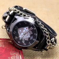 2015 New Fashion Black Punk Watch Rock Skull Quartz Wrist Watch Chain Bracelet  Boys Mens Q2501