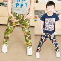 2015 Spring Baby Children Cotton Pants Boys Leaves Print Stretch Long Pants #7011 Kids Clothing Free Shipping 5 PCS