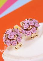 2015New Fashion 18K Gold Plated Flower Crystal Stud Earrings Flower Rhinestone Earrings for Women