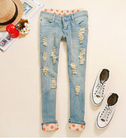 2015   new spring and summer  dots wave point flanging han edition nine minutes of pants ripped jeans tide female