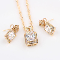 Valentine's Day Gift 18k yellow gold filled engagement womens Square Clear Czs  necklace pendant earrings set