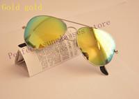 Vintage Aviator Oculos de sol Men Women sunglasses Metal frame with G15 glass lens G ray Sun Glasses With original band case