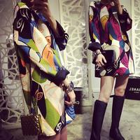 2014 New Fashion European Style Women Dress Vintage Print Graffiti Contrast Color Long Sleeve Autumn Winter Ladies Dresses Z 98