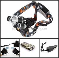 Boruit 3T6 3 X CREE XML T6 LED Headlamp Headlight Flashlight 5000 Lumens Head Lamp+1xcharger+1xcar charger+2x4000mah battery