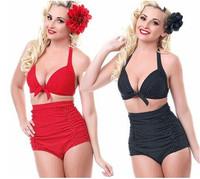 New Arrival Vintage Style Printed High Waist European Fashion Women Bikini Set Sexy Slim Summer Push Up Swimwear On Beach
