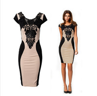 New Arrival Women Elegant Embroidery Bodycon Dresses New Fashion Patchwork Autumn Casual 2015 Bandage Dress Z 99